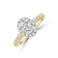 18ct Gold & Platinum Oval DVS2 Diamond Halo Ring