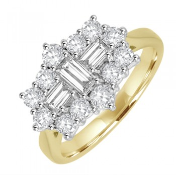 18ct Gold 15-stone Baguette 1.32ct Diamond Cluster Ring