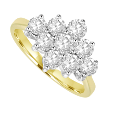 18ct Gold 9-stone 3x3 .90ct Diamond Cluster Ring