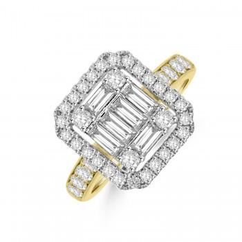 18ct Gold & Platinum Baguette Cluster Diamond Halo Ring