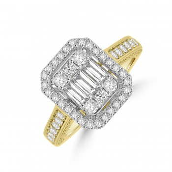 18ct Gold Baguette Diamond Cluster Halo Ring