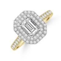 18ct Gold Emerald cut Diamond Double Halo Ring