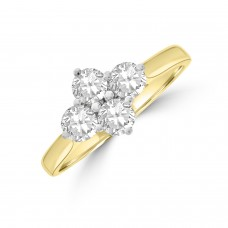 18ct Gold 4-stone 2x2 Diamond Cluster Wed fit Ring