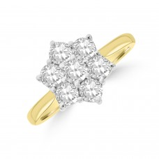 18ct Gold Daisy 1.02ct Diamond Cluster Wedd Fit Ring