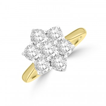 18ct Gold Daisy 1.52ct Diamond Cluster Wedd fit Ring