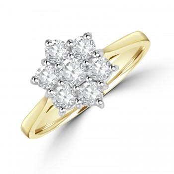 18ct Gold Daisy 1.00ct Diamond Cluster Ring