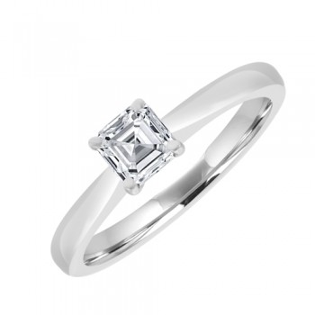 18ct White Solitaire Diamond Aascher Cut 4Claw