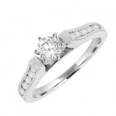 18ct White Gold Diamond Solitaire Vintage style Ring
