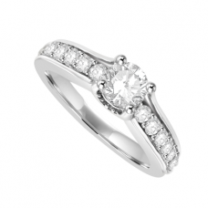 18ct White Gold Diamond Solitaire Ring with set shoulders