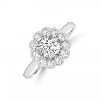 18ct White Gold .91ct Diamond Daisy Cluster Ring