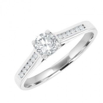 18ct White Solitaire .28ct Diamond Ring