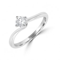 18ct White Gold Solitaire .34ct Diamond Twist ring
