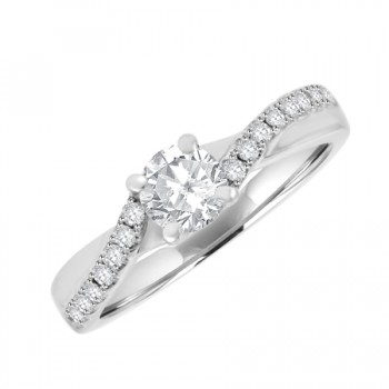 18ct White Gold Solitaire Diamond Twist Engagement Ring