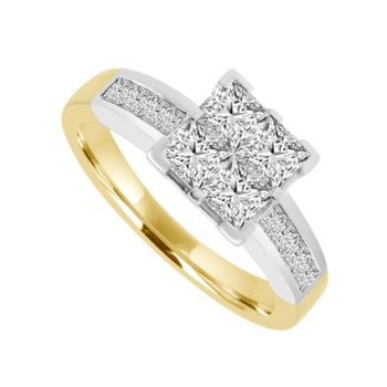 18ct Gold 4-Stone Princess cut Diamond Quad Ring