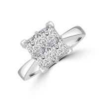 18ct White Gold Four-Stone Cluster Ring