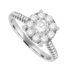 18ct White Gold Diamond Solitaire Illusion Cluster Ring