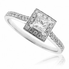 18ct White Gold Princess cut Diamond Halo Ring