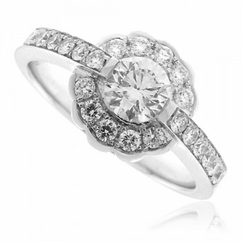 18ct White Gold Diamond Floral Halo Ring