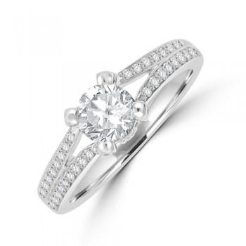 18ct White Gold Soltaire Diamond split Ring