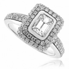 18ct White Gold Emerald cut Diamond Halo Ring