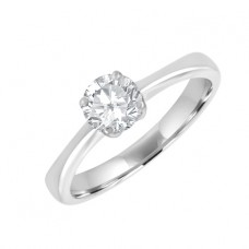 18ct White Gold .53ct Diamond Solitaire Ring- Dia/Set Shoulders