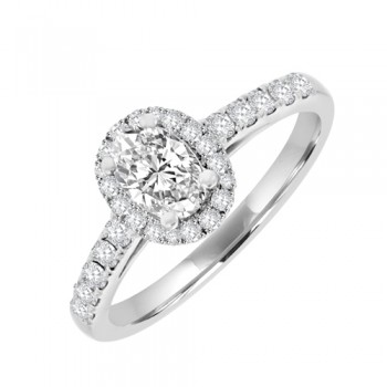 18ct White Diamond Solitaire Ring with Halo