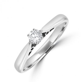 18ct White Gold Diamond 6-claw Solitaire ring