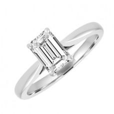 18ct White Gold Solitaire Emerald HVS2 Diamond Engagement Ring