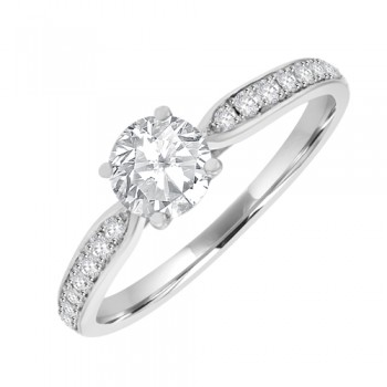 18ct White Diamond Solitaire Ring with Diamond Shoulders