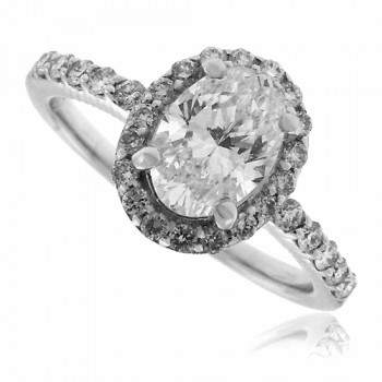 18ct White Gold Oval cut Diamond Halo Ring