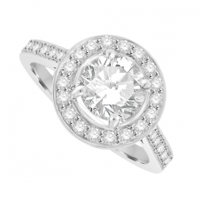 18ct White Gold Solitaire Diamond Halo Ring