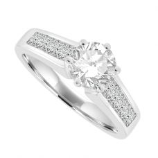 18ct White Gold Solitaire Diamond Ring with Princess Shoulders
