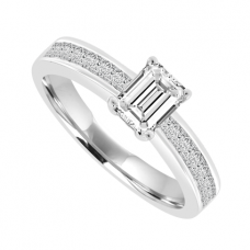 Emerald cut Diamond Solitaire Rings with Princess cut Shoulders