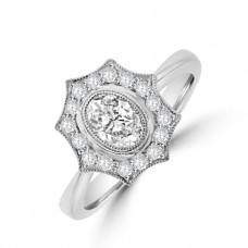 18ct White Gold Oval Diamond Cluster Ring