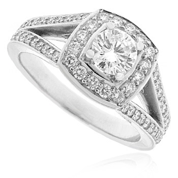 18ct White Gold Diamond Solitaire Halo Split Ring