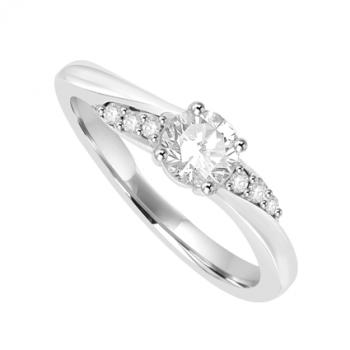 18ct White Gold Diamond Solitaire Twist Ring