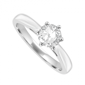 18ct White Gold Solitaire .60ct Diamond Ring