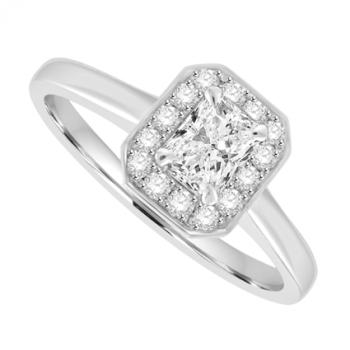 18ct White Gold Phoenix cut Solitaire Diamond Halo Ring