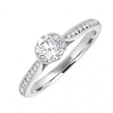18ct White Gold Solitare Ring with Diamond Shoulders