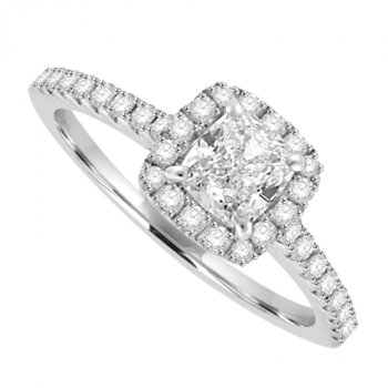 18ct White Gold Cusion cut Diamond Solitaire Halo Ring