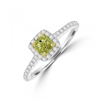 18ct White Gold Cushion Yellow Diamond Halo Ring