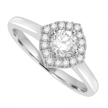18ct White Gold Solitaire Diamond Compass Halo Ring