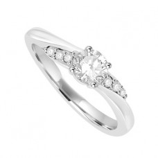 18ct White Gold Solitaire Diamond Twist Ring