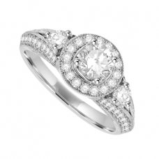 18ct White Gold Solitaire Diamond Art Deco Cluster Ring