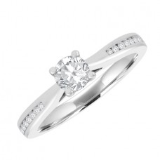 18ct White Gold Solitaire GSi2 Diamond Engagement Ring