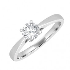 18ct White Gold Solitaire .50ct Diamond Engagement Ring