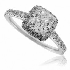 18ct White Gold Cushion cut Diamond Halo Ring