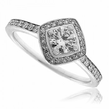 18ct White Gold Diamond Solitaire Square Halo Ring