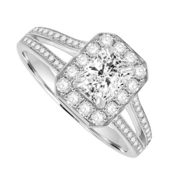 18ct White Gold Phoenix Solitaire Diamond Halo Ring