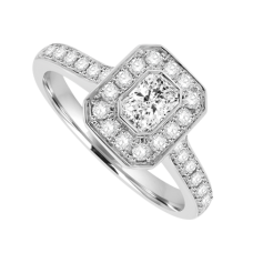 18ct White Gold Phoenix Diamond Rubover Halo Ring
